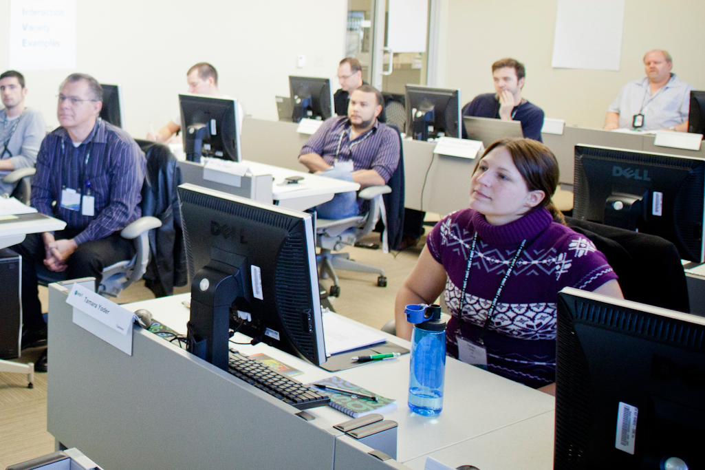 Photo of students attending an ArcGIS workshop.